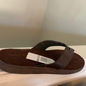 Nautica Mens Flip Flop Sandals Brown Size 12 New